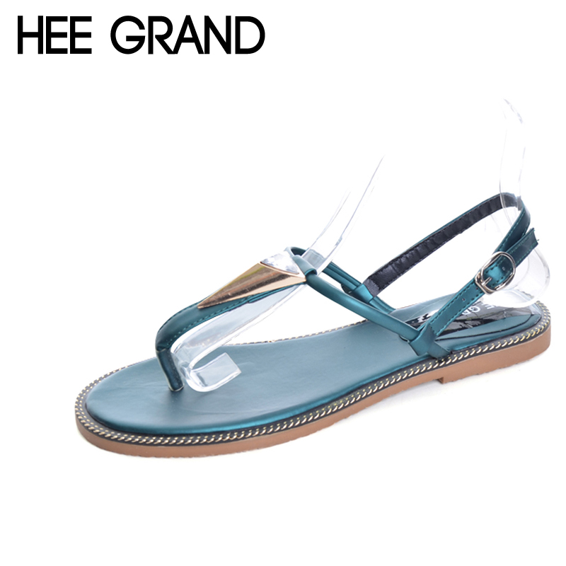HEE GRAND Metal Flip Flops 2017 New Summer Gladiator Sandals Slip On Beach Flats Fashion Casual Simple Shoes Woman XWZ3839 hee grand summer gladiator sandals 2017 new beach platform shoes woman slip on flats creepers casual women shoes xwz3346