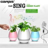 GARAS Wireless Speaker  Music Flower Pot With Portable Bluetooth Speaker Smart Waterproof Player Active Audio With LED Light