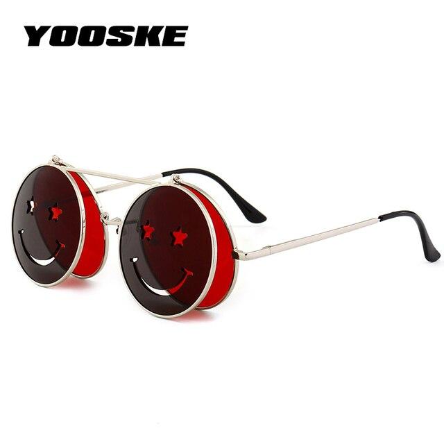 4926893c5 YOOSKE Steampunk óculos de Sol Das Mulheres Dos Homens Óculos de Metal  Redondo Design Smiley Retro