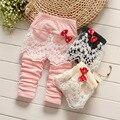 Nova Moda Primavera Calças Do Bebê Das Meninas Dos Meninos Calças de Algodão Calças Rendas Arco Outono Cintura Elástica Calça Casual Roupa Dos Miúdos 7-24 M