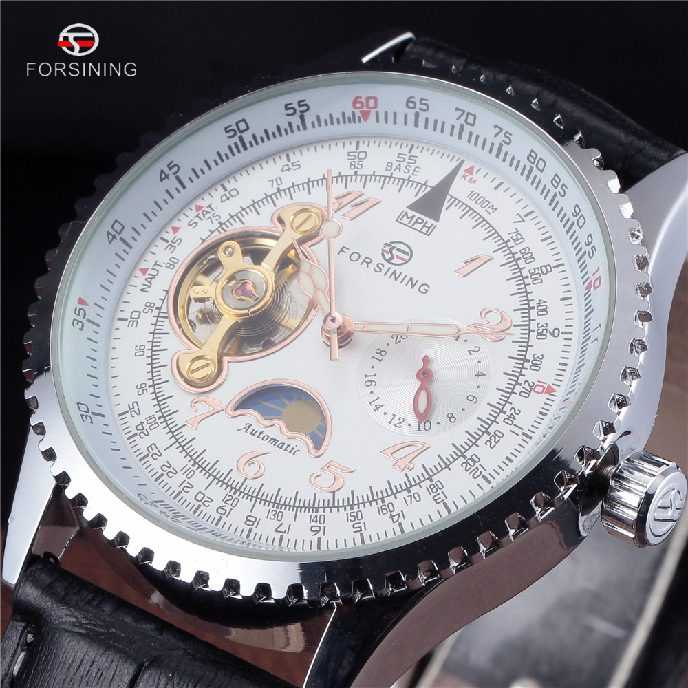 f166fc0d4df41 Forsining توربيون الساعات الفاخرة الرجال أنيق جلدية حزام الأزياء الساعات  التلقائي الهيكل العظمي الميكانيكية ووتش