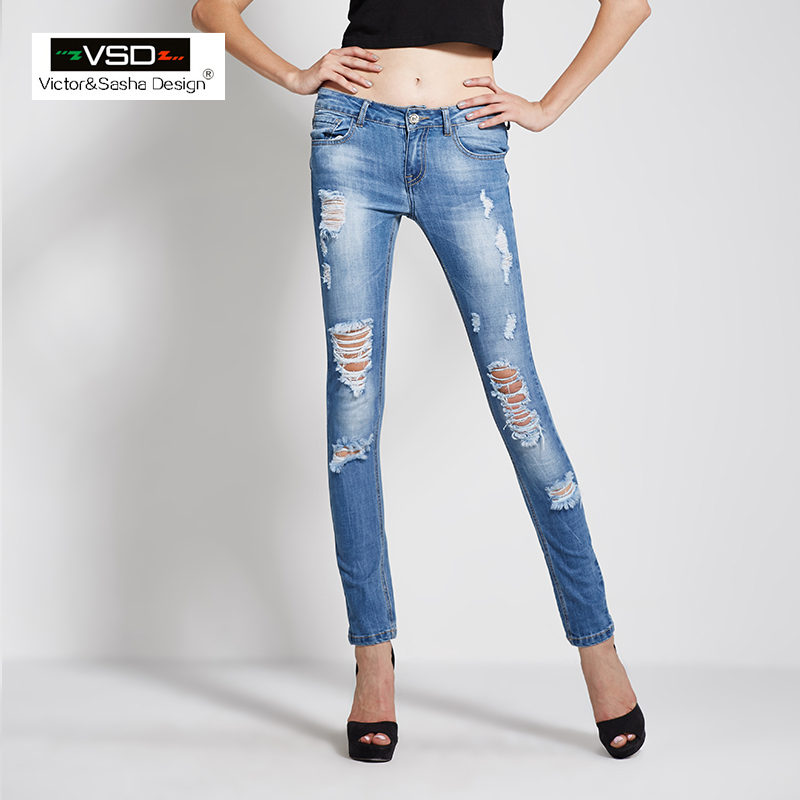 Aliexpress.com : Buy VSD 2016 Skinny Slim Fit Low Waist Ripped ...