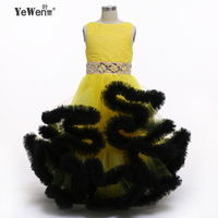 Yellow With Black Cloud Little Flower Girls Dresses For Weddings Ball Dresses For Girls Kids Evening