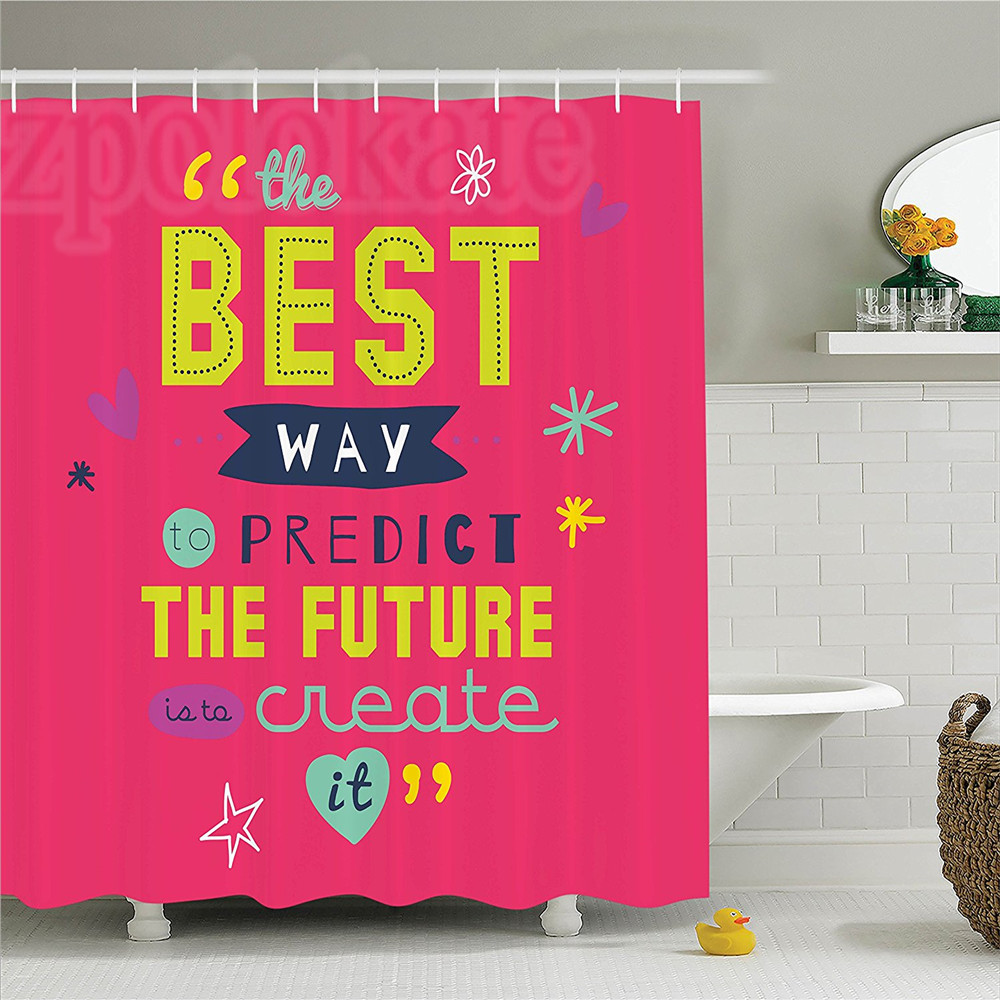 Quotes Decor Shower Curtain Set Motivational Typography