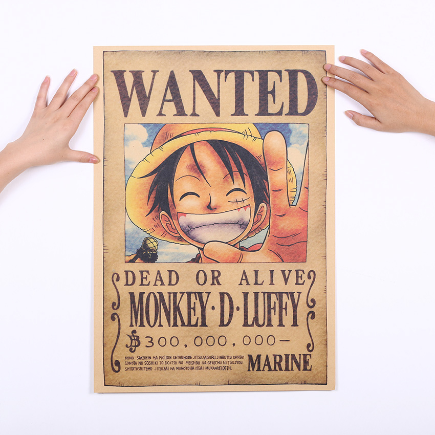 luffy wanted poster 51x36cm. Black Bedroom Furniture Sets. Home Design Ideas