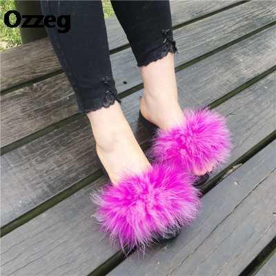 8effcf4bcce89e ... 15 Colors Ostrich Hair Slippers Fur Furry Slide Flip Flops Women Home  Slippers Female Sweet Fenty ...