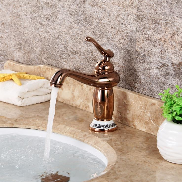 Arab lamp Contemporary Concise Single Bathroom Faucet RoseGold finish  Basin Sink Faucet Single Handle water tap contemporary concise bathroom faucet antique bronze gold finish basin sink faucet single handle water tap