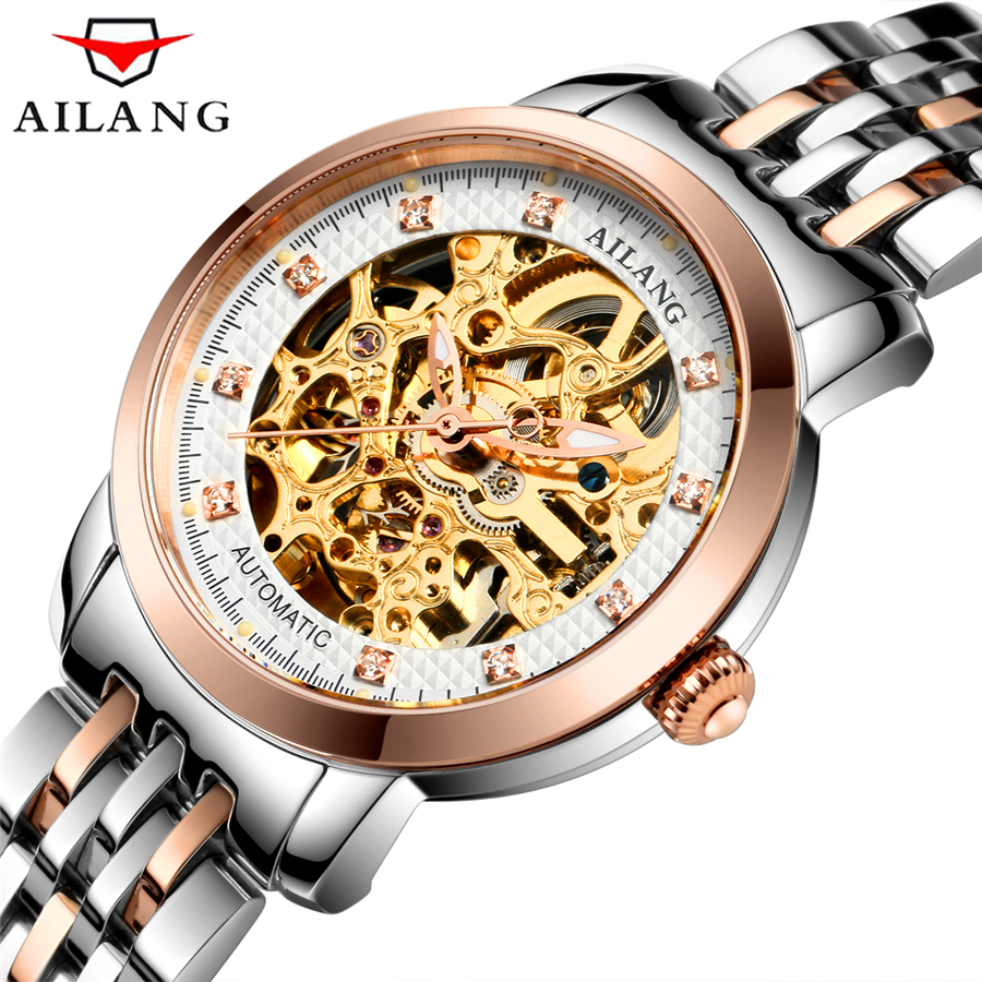 AILANG Automatic Mechanical Watch Womens Watches Top Brand Luxury Fashion Business Watch  Skeleton Rhinestones Dial Women Clock skmei 6911 womens automatic watch women fashion leather clock top quality famous china brand waterproof luxury military vintage