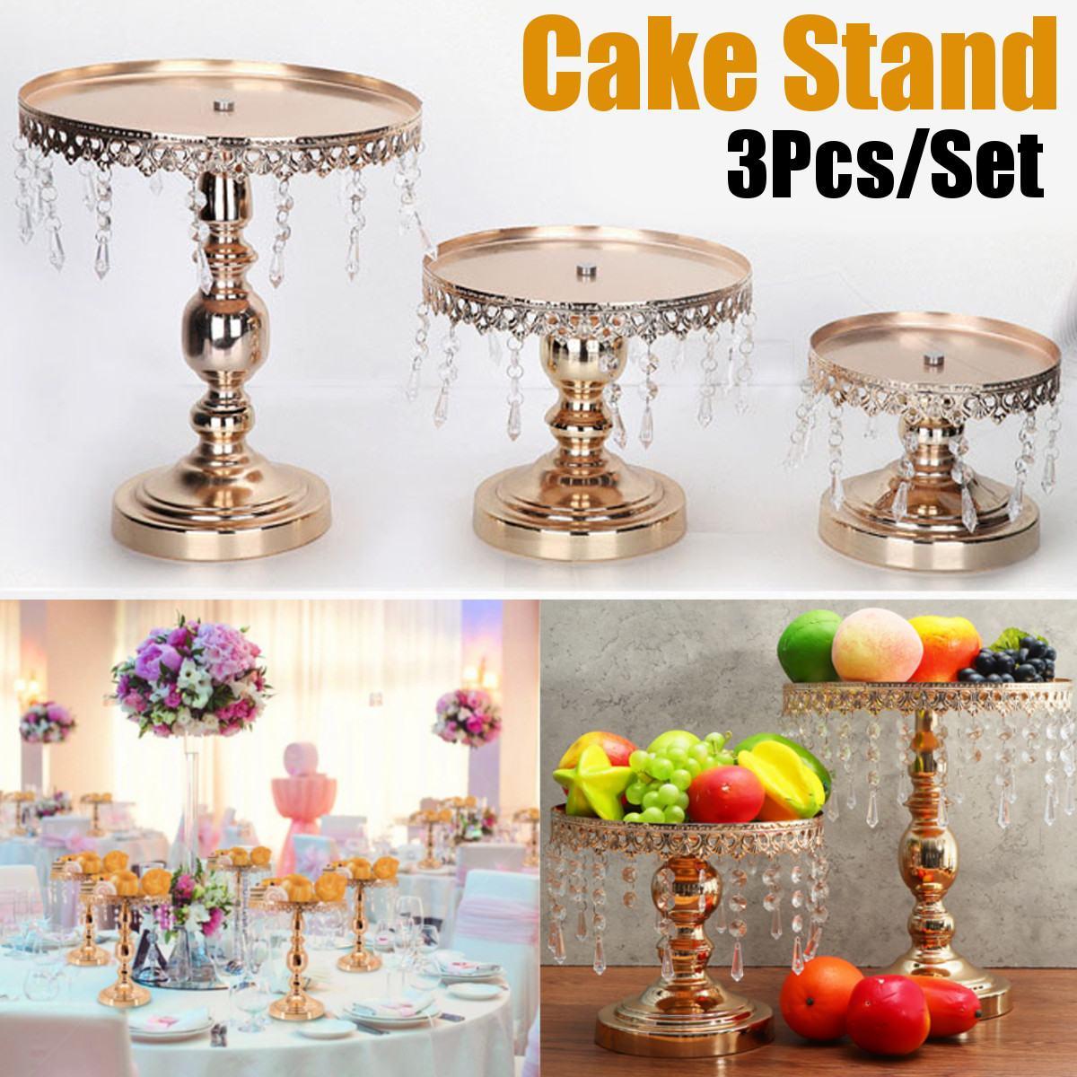 3 pièces/ensemble mariage Dessert plateau gâteau Stand titulaire or miroir Surface de mariage fête d'anniversaire décoration Pan gâteau biscuits affichage