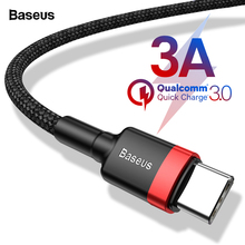 Baseus 3A USB Type C Cable For Samung S10 S9 Xiaomi mi 9 8 Fast Charging USB-C Type-c Cable For Huawei P20 Lite Oneplus 6t 6 5t