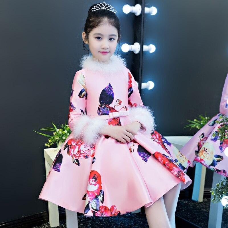 2018 New Arrival Chinese Wind Children Girls Pink Printing Flowers Pattern Cheongsam Dress Babies Birthday Evening Party Dress flowers butterflies pattern waterproof shower curtain