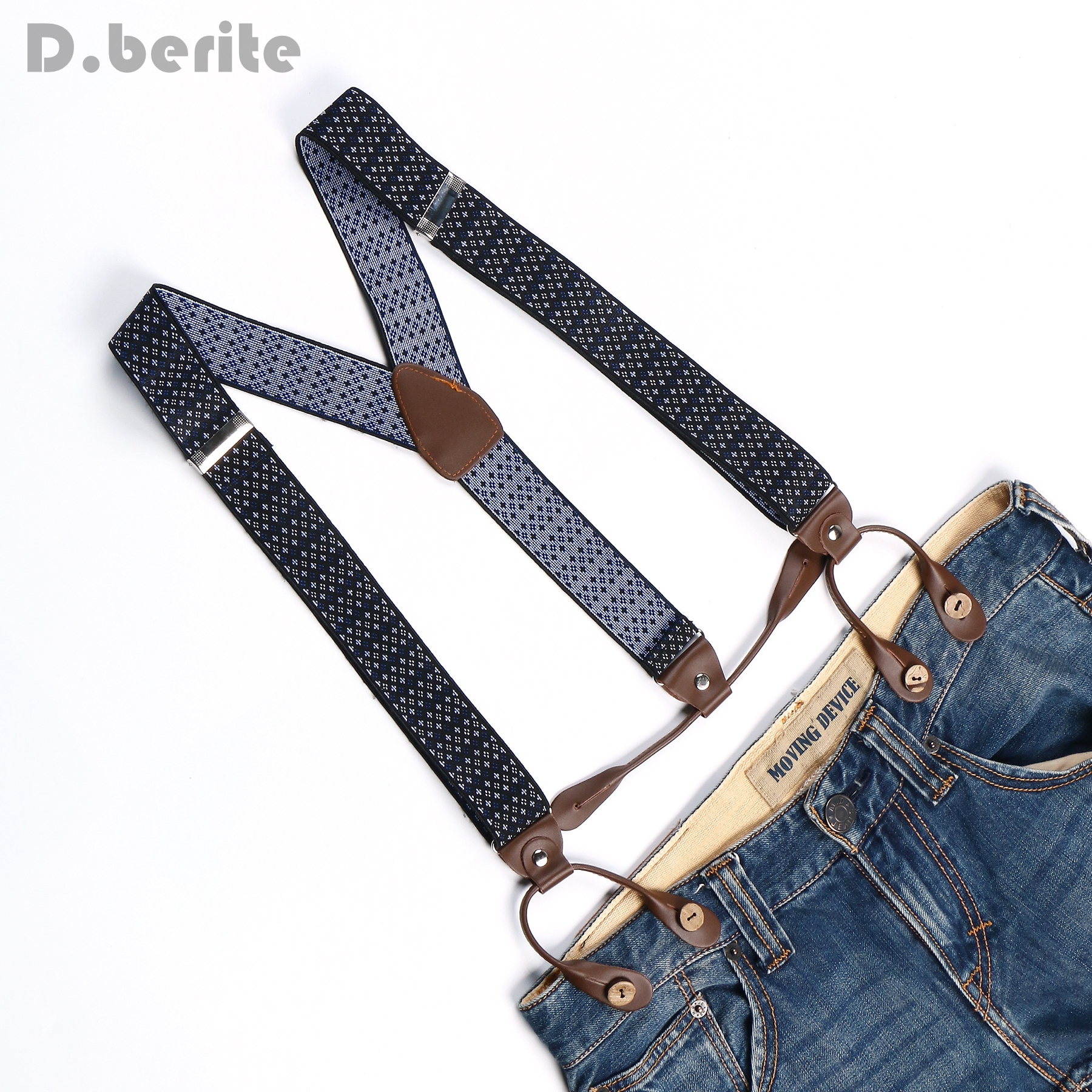 Braces Unisex Suspender Adjustable Leather Fitting Six Button Holes Star Floral BD753