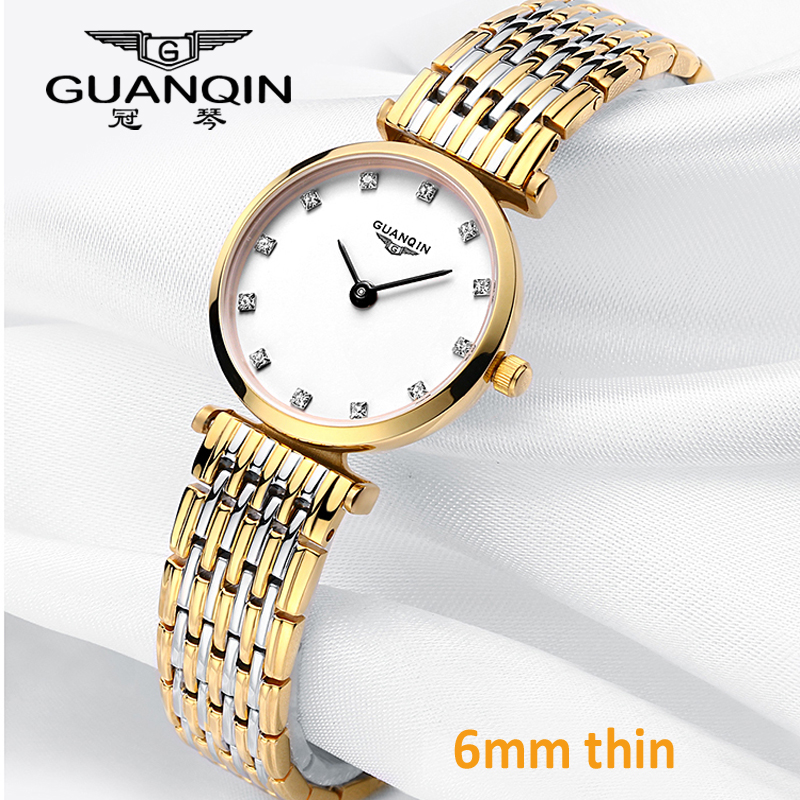 GUANQIN Women Watches Luxury Top Brand Watch Casual Fashion Ultra Thin 6mm Design Gold Silver Steel Dress Quartz Girl Watches