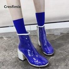 Cresfimix mulheres transparentes confortáveis botas de salto alto com zíper lateral senhora casuais botas impermeáveis botas femininas a2774
