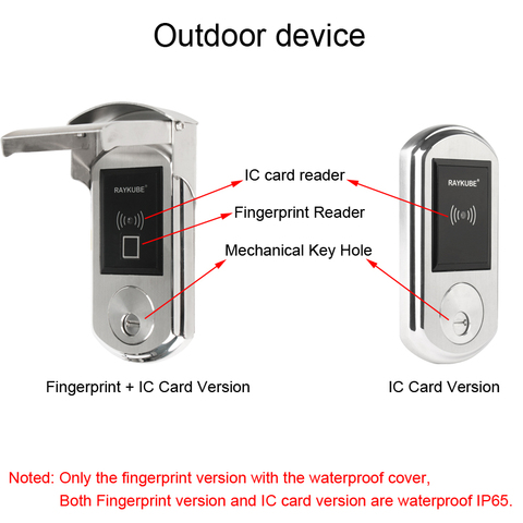 RAYKUBE Waterproof Fingerrint Electronic Door Lock With IC Card Reader Fingerprint Verification For Outsite Gate IP65 Lahore