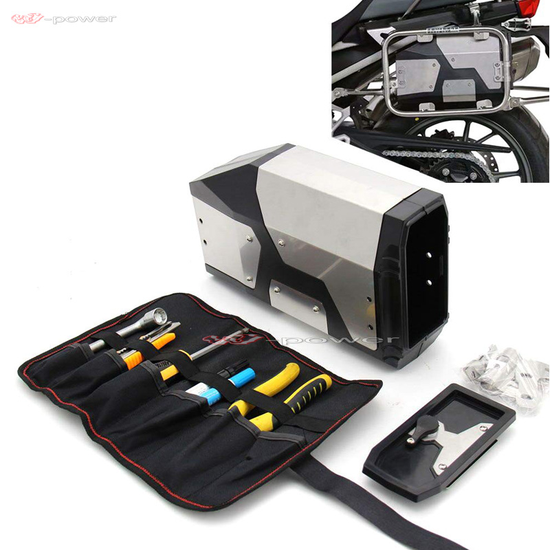 Motorcycle Stainless Steel Box Toolbox Gear Box For BMW R1200GS LC/ADV R1250GS Adventure F750GS F800GS-in Covers & Ornamental Mouldings from Automobiles & Motorcycles    1