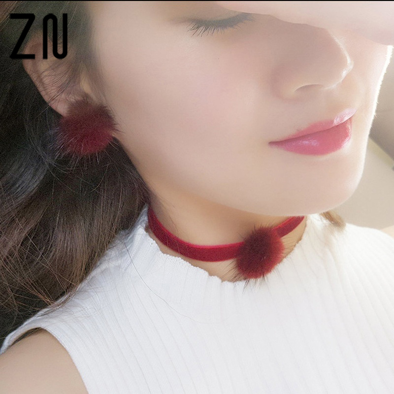 ZN Hot Sell 8 Colors Women Fashion Furry Fluffy Ball Stud Earring Girls Trendy Lovely Candy Color Earrings Jewelry Accessories