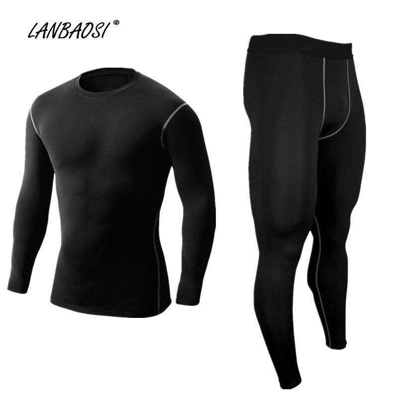 LANBAOSI homme Compression chemises & pantalons noir ensemble course collants couche de base entraînement Fitness entraînement CrossFit hauts de sport pantalon