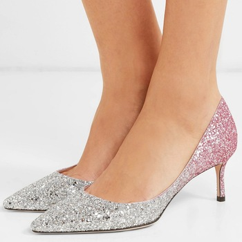 Sexy Gradient Pink Bling Bling Pumps Pointed Toe Kitten Heels Glittle Sequins Shoes Mujer Zapatos Wedding High Heels for Ladies