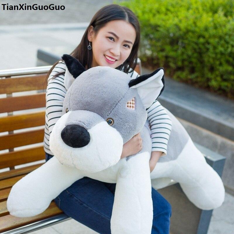 Peluche mignon sujet chien grand 110 cm gris husky amour chien en peluche jouet doux poupée étreinte oreiller cadeau d'anniversaire s0213