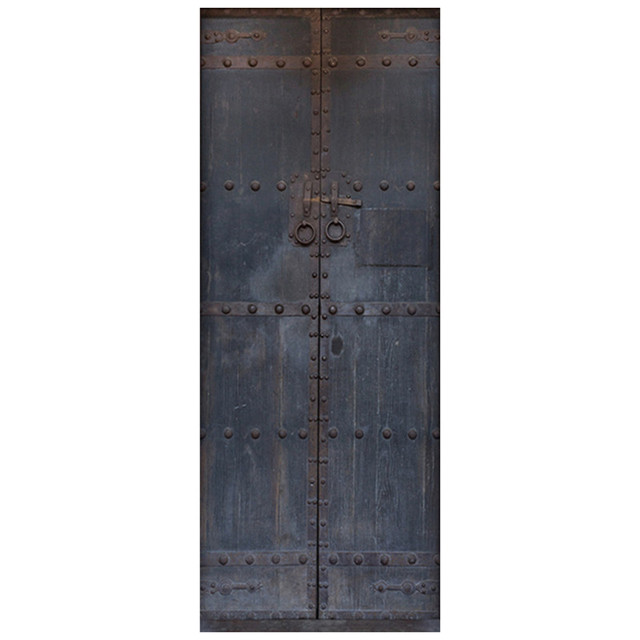 Us 16 37 30 Off 77 200cm Chinese Style Fake 3d Old Wooden Door Vinyl Stickers Wall Art Mural Vintage Home Decoration Poster Wallpaper 6 Styles In