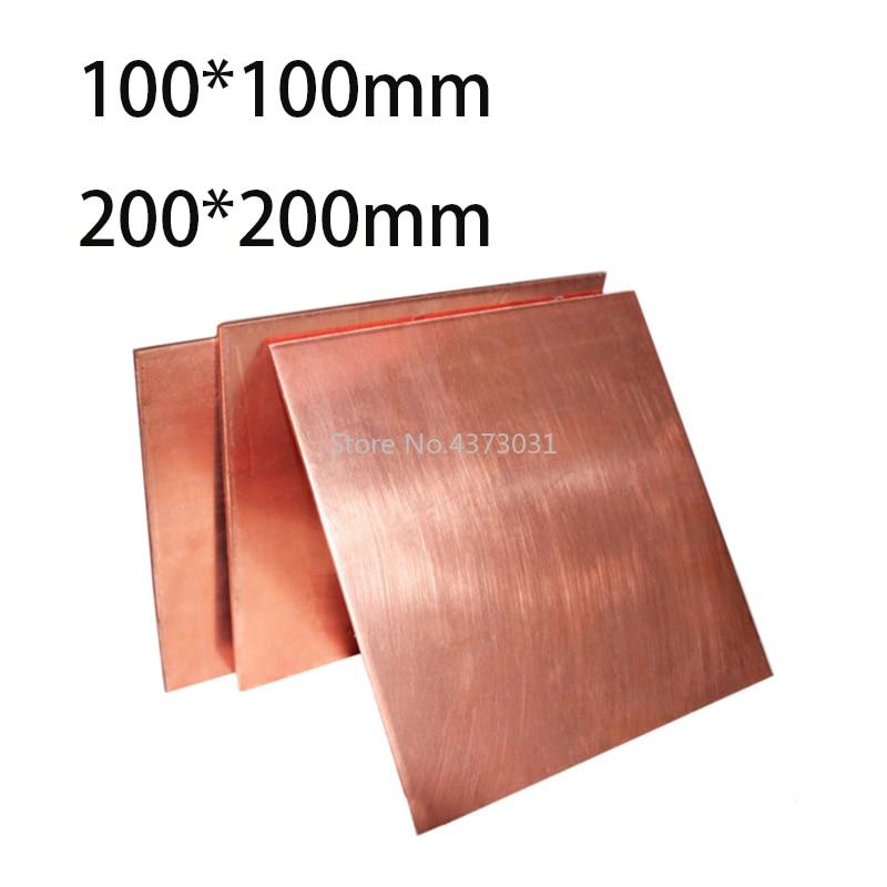 1 шт. 99.9% медный лист, DIY материал для планшетов из чистой меди, DIY материал для промышленной формы или металлического искусства 100x100 мм