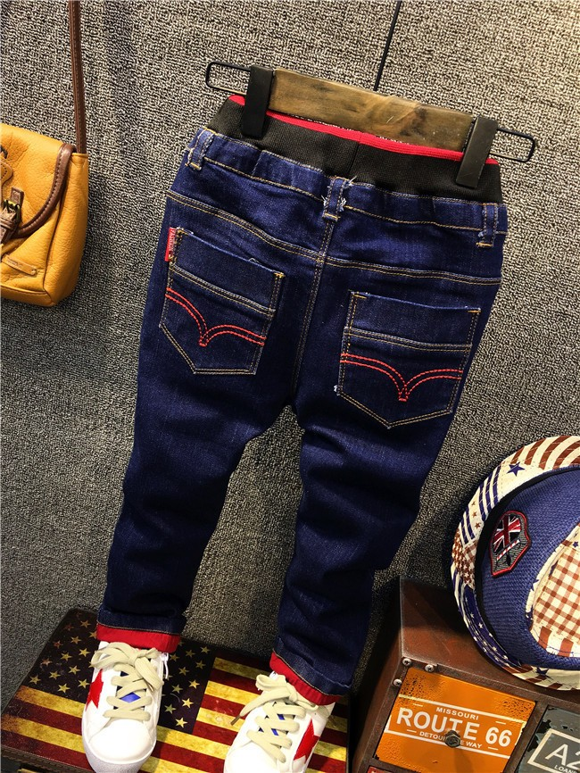 children boy autumn winter fleece warm jeans pants (7)