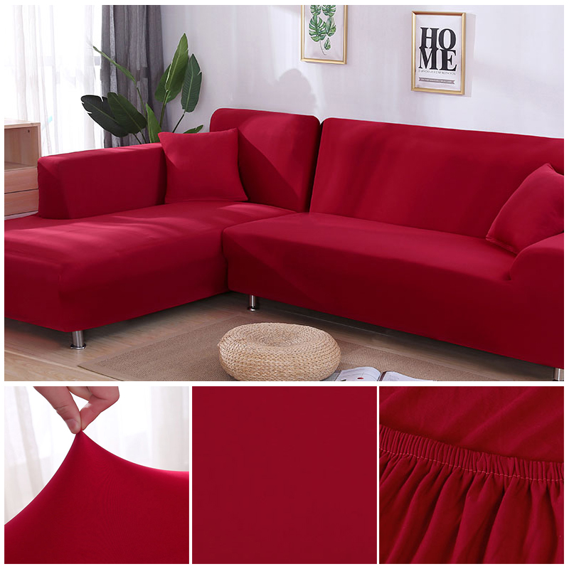 L shaped Solid Sofa Cover with Elastic for Sectional and Corner Sofa with Deep Gap Suitable in Living Room and Office 22