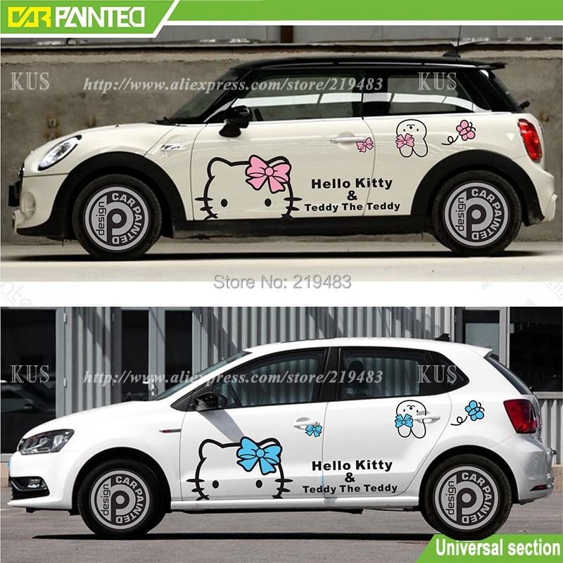 Whole Car Sticker Design Cute Kitty Cat Car Body Sticker Hood - Car sticker design