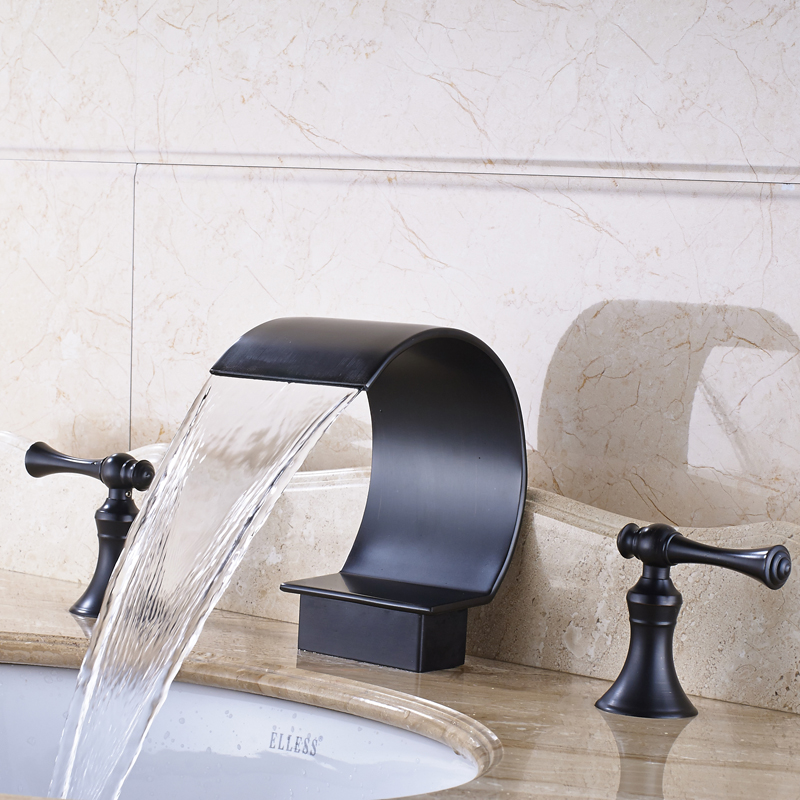 Oil Rubbed Bronze Solid Brass Bathroom Sink Faucet Double Handles Mixer Tap Deck Mounted все цены