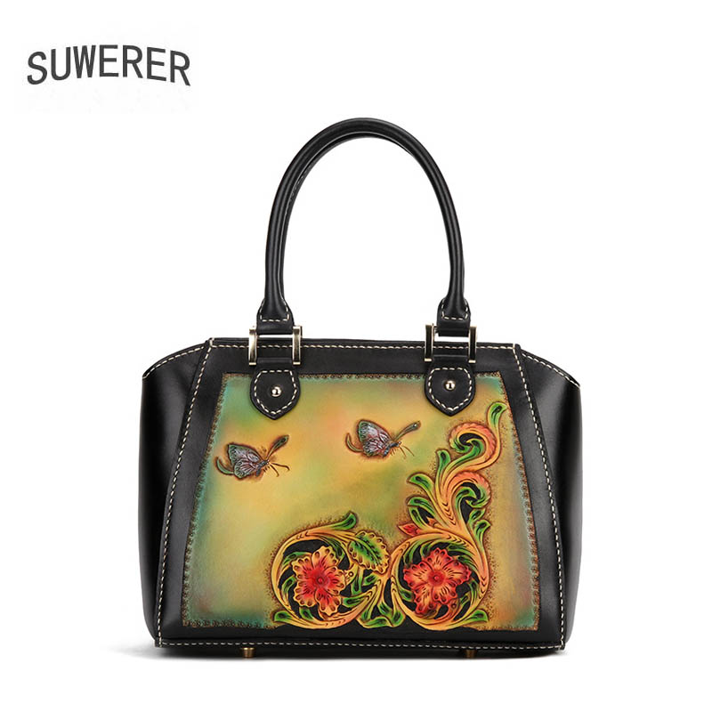 SUWERER 2019 New women genuine leather bag cowhide Hand Carved fashion Luxury women handbags tote women leather shoulder bag