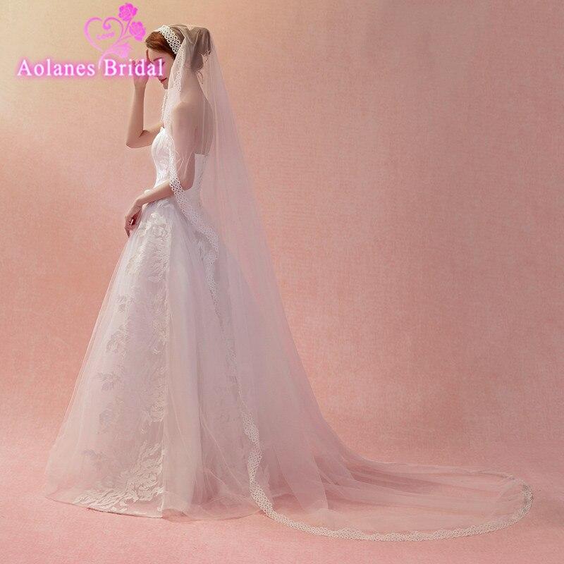 AOLANES 2018 New Arrival 3M Nature White Lace Bride Veils One-layer Applique Cathedral Wedding Veil Wedding Accessories Veu Noiv