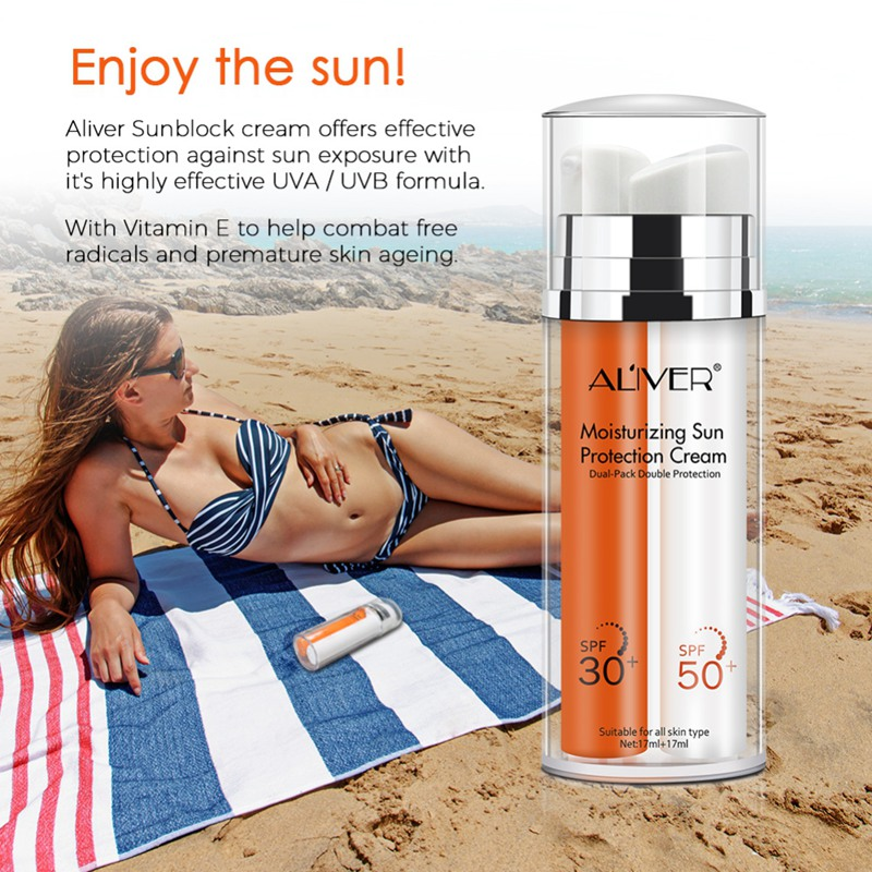 Spf90++Double Tube Sunscreen Cream Waterproof Sunblock Foundation Whitening Isolation Moisturizing Oil Control Face Ski