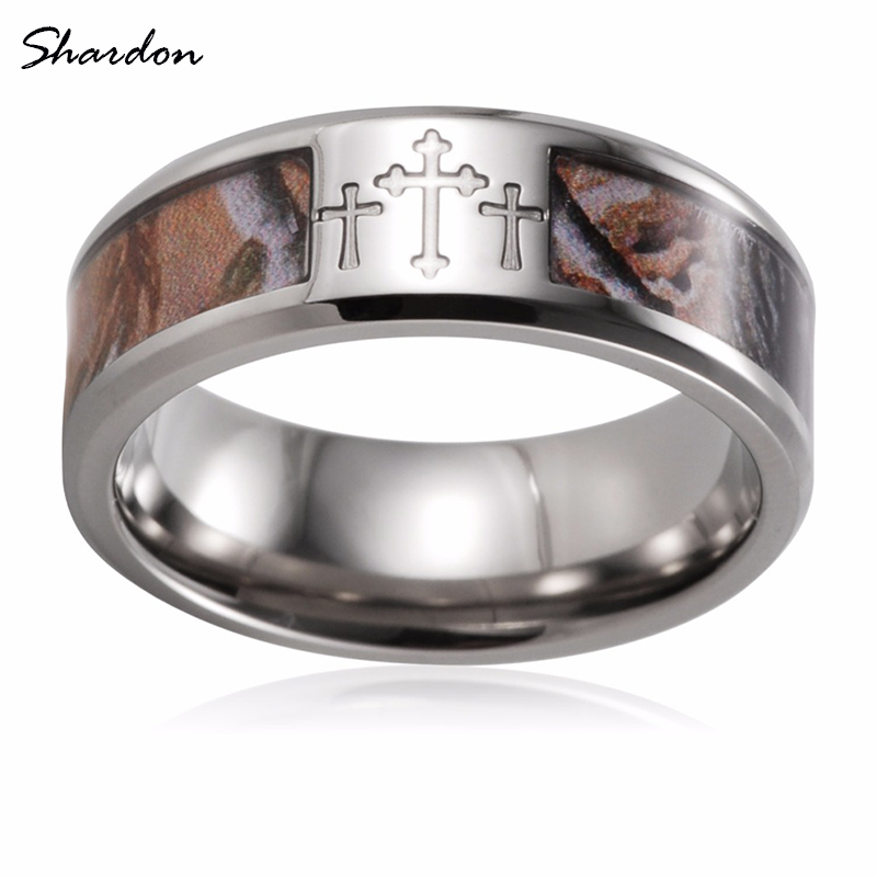 SHARDON Three Cross Camo men Rings 8mm Titanium Mossy Oak Band