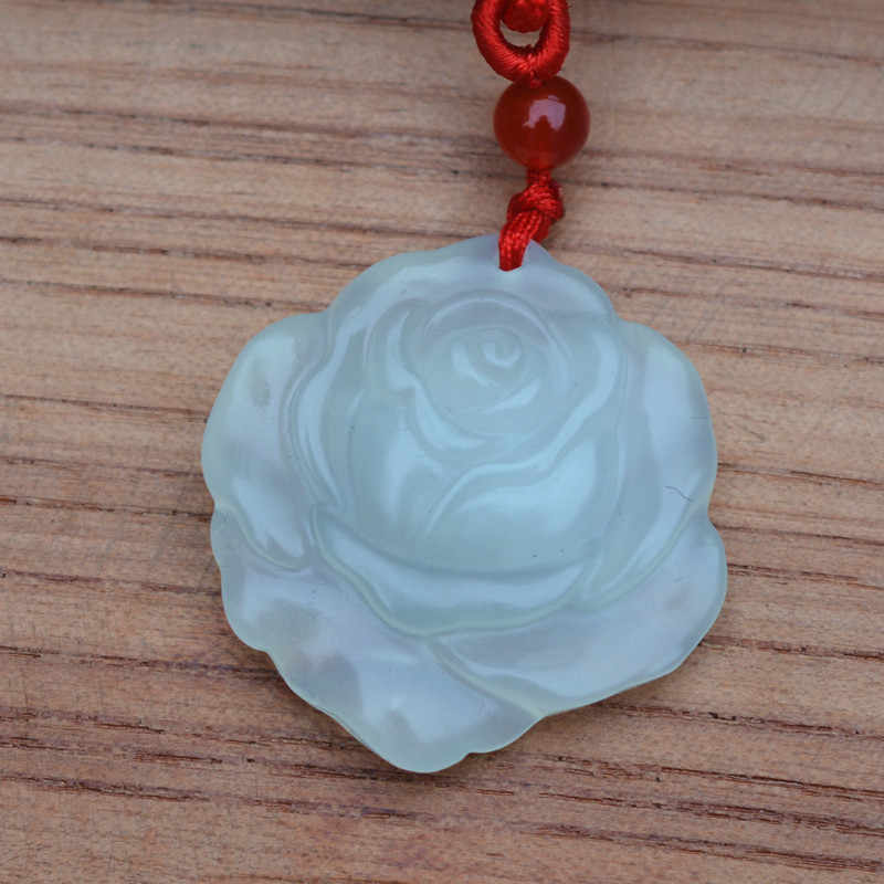 Natural Ice White XIUYU Jades Pendant Carved Rose Flower Pendant Necklace Gift for Women Fashion Jewelry Free Rope