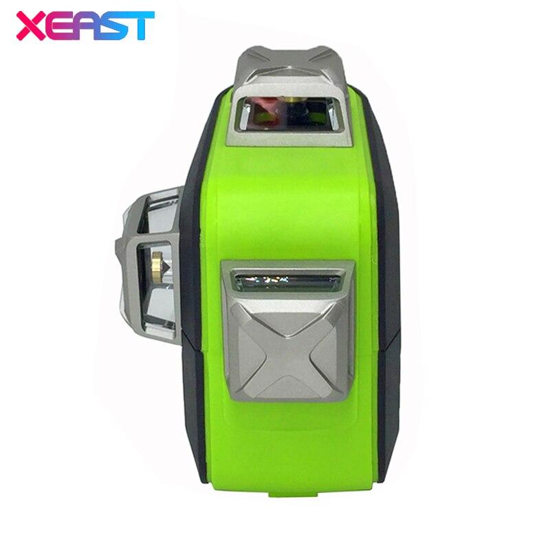 XEAST XE-93TG 12 Linien 3D Green Laser Level Lithium-Batterie Selbst Nivellierung Horizontale & Vertikale Kreuz Linien Verwenden Können empfänger