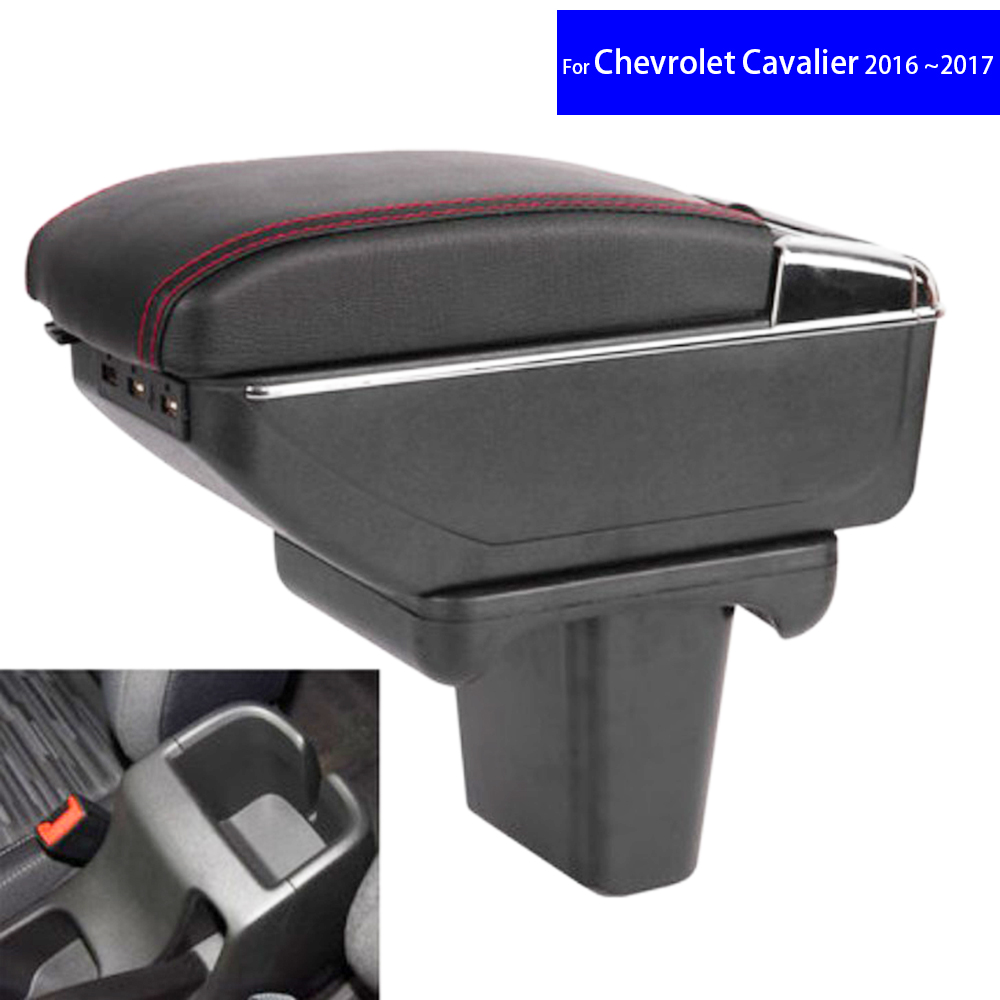 Leather Car Interior Parts Center Console Armrest Box for Chevrolet Cavalier 2016 2017 Auto Armrests Stroage with USB CUP Holder universal leather car armrest central store content storage box with cup holder center console armrests free shipping