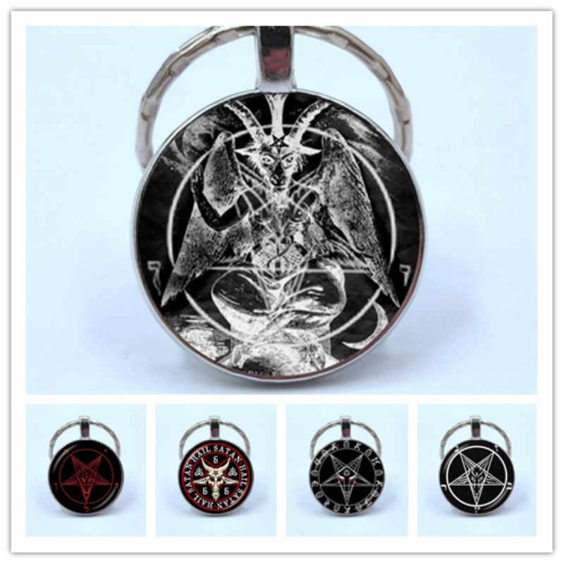 Vintage Silver Pentagram Keychain Red Goat Head Glass Dome Pendant Baphomet Keyring For Mens Satanism Gothic Jewelry