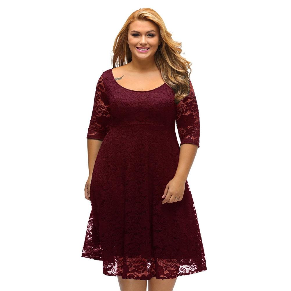 Plus Size 5XL Elegant Women Lace Dress Floral Round Neck  3/4 Sleeves High Waist  Zipper Party Dresses Slim Elbise Vestido Mujer