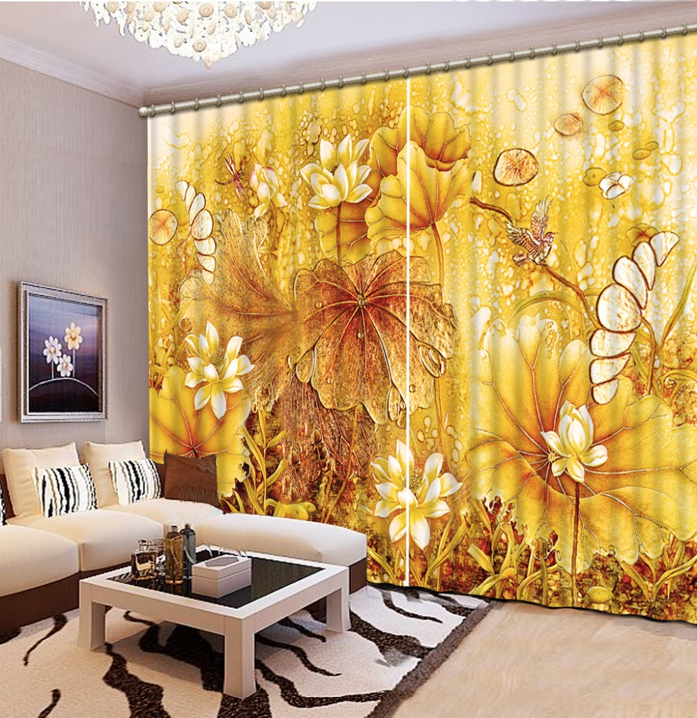 Golden Lotus Pattern Shade 3D Curtains for Bedroom Living Room Curtains Accept Customization any size CL-008