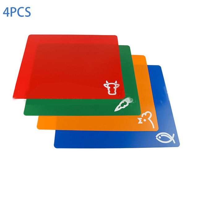 4 PCS Classification Chopping Block PP Anti-slip Rectangle Cutting Board