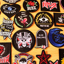 DIY Punk Skull Patch Embroidered Patches For Clothing Iron On Clothes Rock Hippie Biker Badges Black Applique