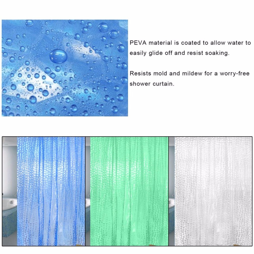 PEVA 3D Waterproof Translucence Thicken Plaid Resists Mold Mildew Bathing Shower Bathroom Curtain 180*200cm With Plastic Hooks