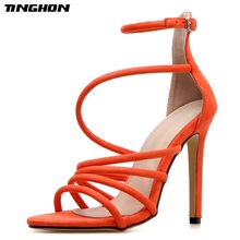 TINGHON New Sexy High Heels Women Sandals Hollow out Buckle Strap Pumps Golden orange Summer Party shoes