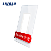 Livolo Luxury White Pearl Crystal Glass 125mm 78mm US Standard Single Glass Panel For Wall Switch