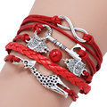 Drop Shipping Classic Cute Giraffe Key Owl Red Bead Infinity Leather Bracelet For Women Ladies Charm Bracelets & Bangles 610013