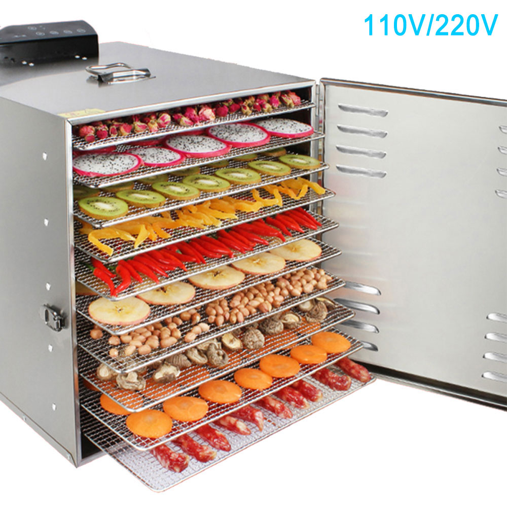 Customized 10 Layers Electric Dehydrator Professional Fruit Food Dryer Stainless Steel Vegetable Fish Meat Air Drying