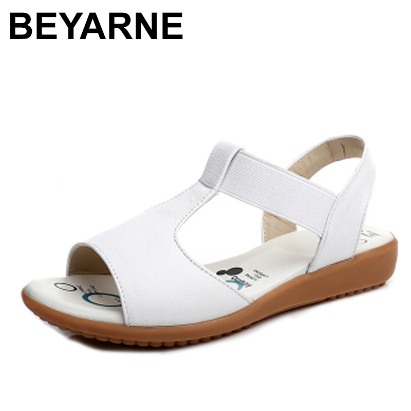 BEYARNE   2018 Genuine Leather Women Sandals Fashion Summer Sweet Women Flats Heel Sandals Ladies Shoes Black