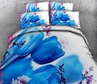 Luxury bed set Blue rose pattern 3D bedding sets Twin king size Queen duvet bedsheet Pillowcase bed cover flat sheet Bed Linen