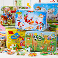 Kids Toys 60 pcs Iron Box Wooden Puzzles Child's Jigsaw Puzzle Toddlers Educational Toys for Children Free Shipping